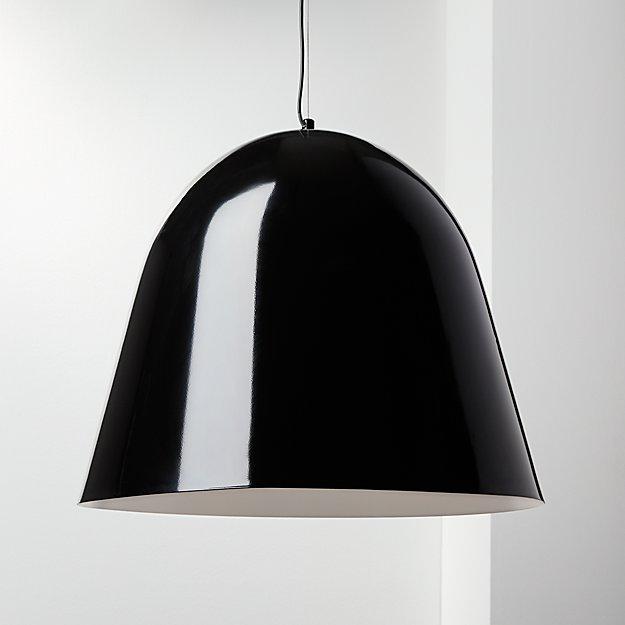 Capitol Large Shiny Black Bell Pendant Light - Image 1 of 7