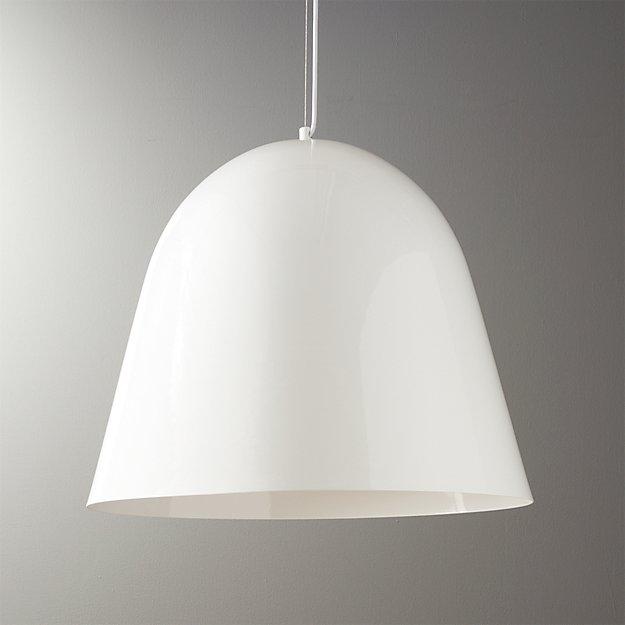 Capitol White Bell Shaped Pendant Light + Reviews | CB2