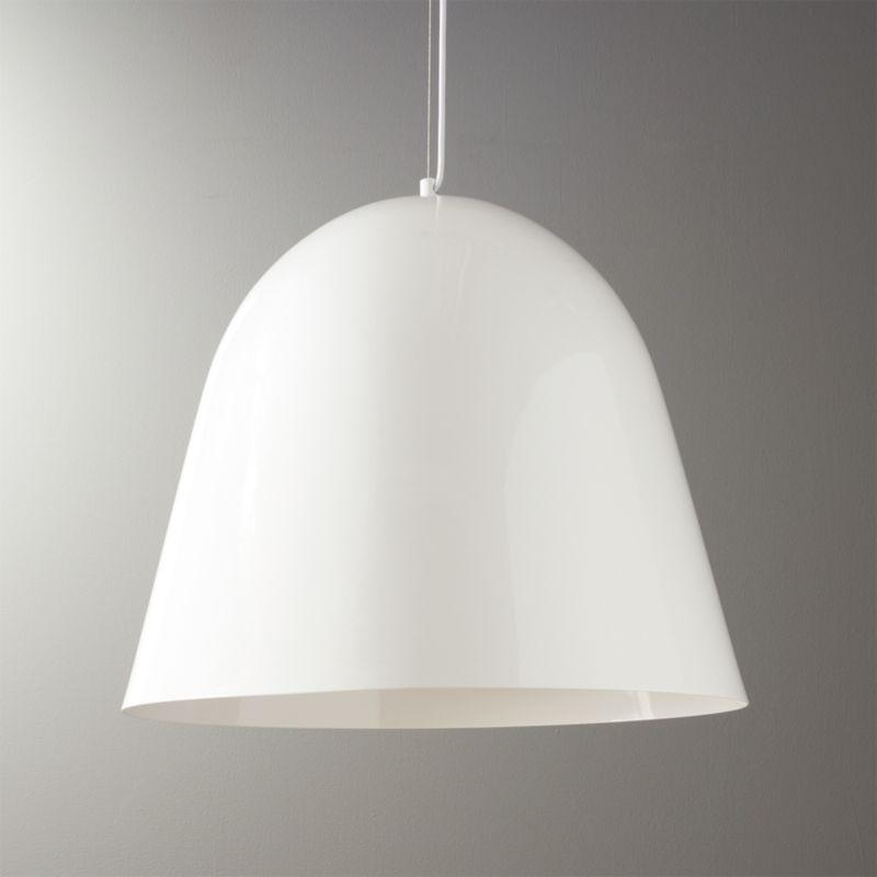 White pendant lights cb2 capitol large white bell pendant light aloadofball Gallery