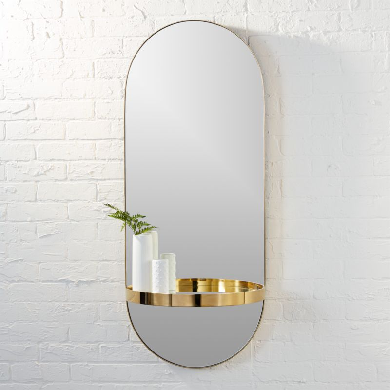 Caplet Oval Mirror With Shelf Reviews Cb2