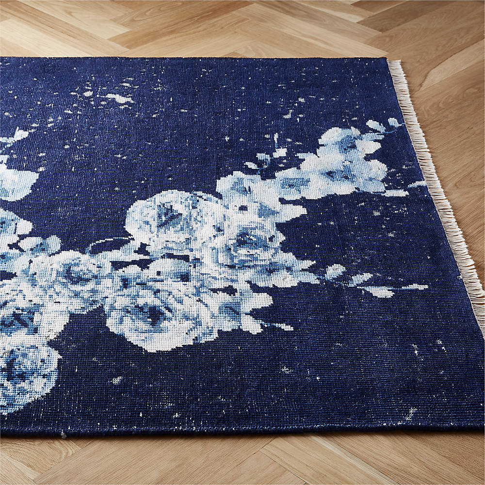 Capulet Handknotted Blue Floral Rug Cb2