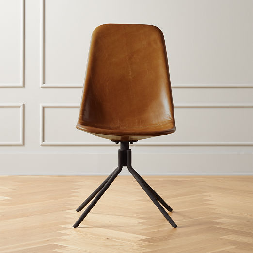 Carine Brown Leather Office Chair