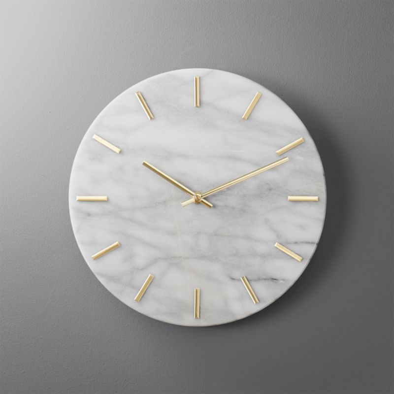 Carlo Marble And Brass Wall Clock Reviews Cb2