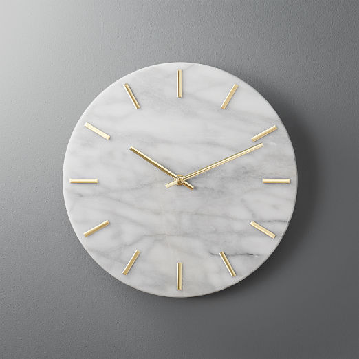 Carlo Marble and Brass Wall Clock