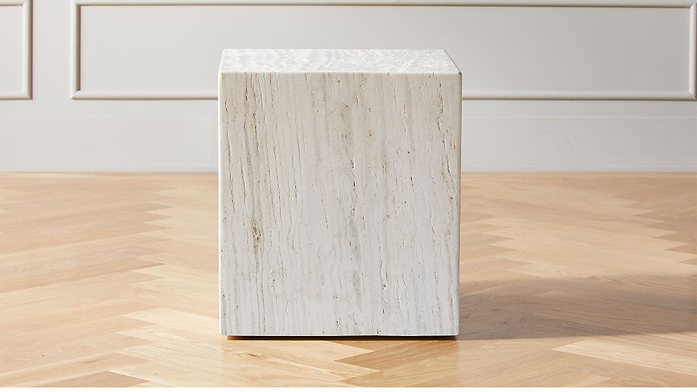 Carmelo Travertine Side Table - Image 1 of 7