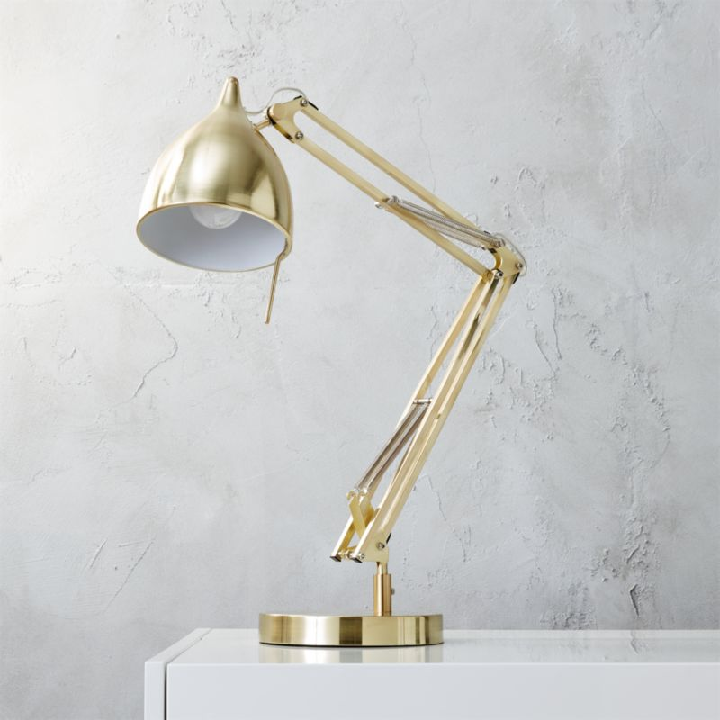 Gold table lamps cb2 carpenter brass table lamp aloadofball Image collections