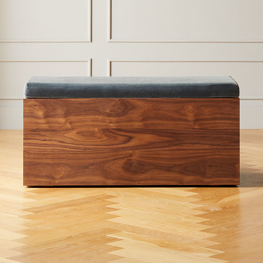 Catch-All Storage Bench Small Faux Mohair