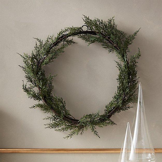 "Faux Cedar Wreath 18"" - Image 1 of 11"