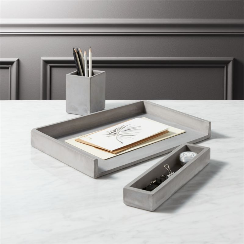 Exceptional Cement Desk Accessories | CB2