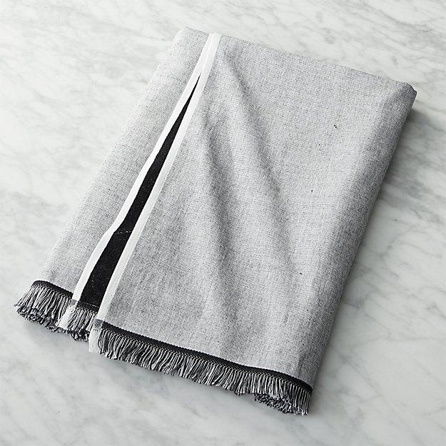 Chambray Black And White Bath Towel Reviews Cb2