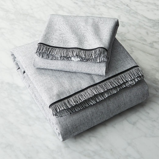 Chambray Black and White Bath Towels