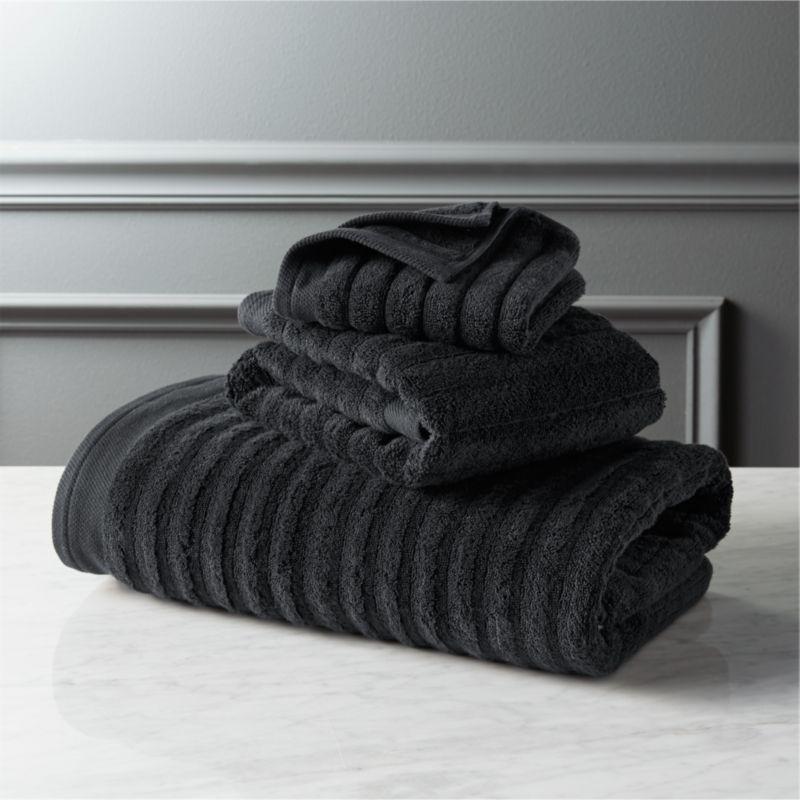 channel black bath towels CB2