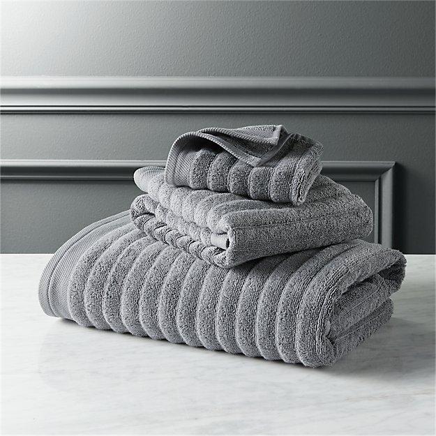 Channel Grey Cotton Bath Towels Cb2