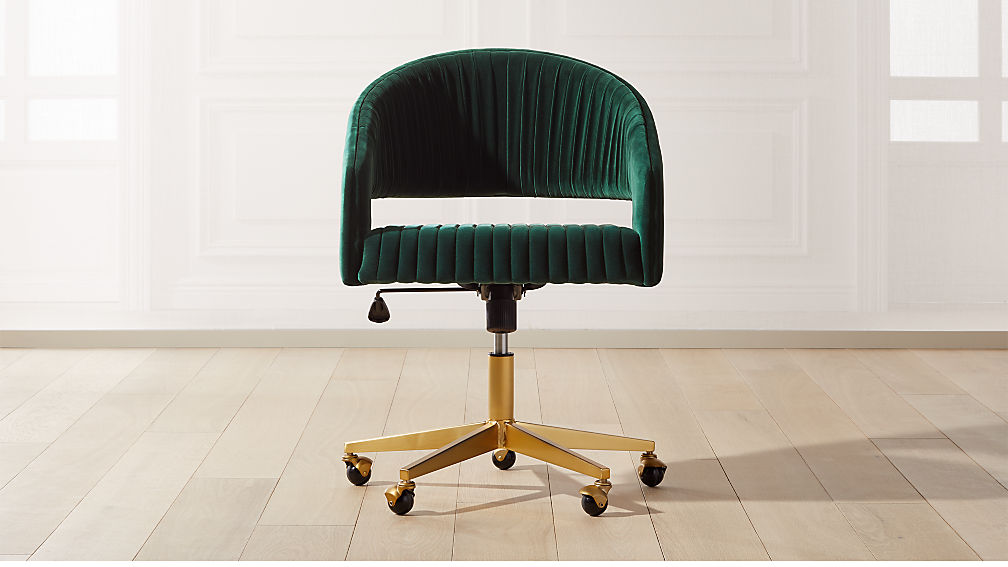 Channel Green Velvet Office Chair - Image 1 of 8