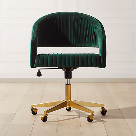 Channel Green Velvet Office Chair Cb2