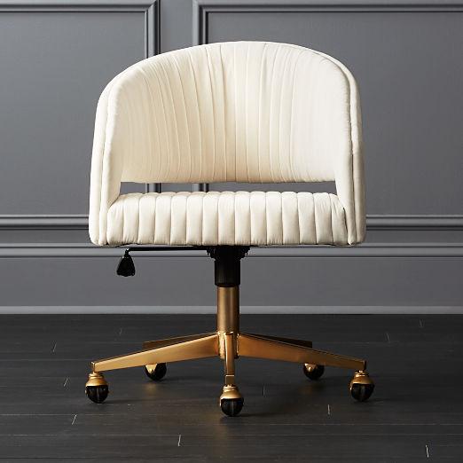 Channel Ivory Velvet Office Chair