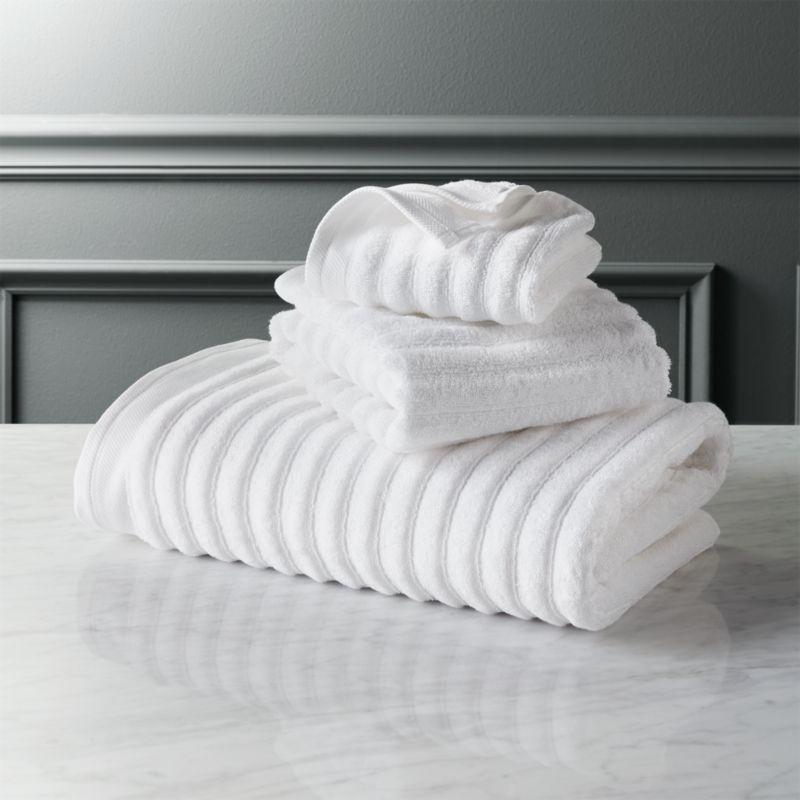 channel white cotton bath towels CB2