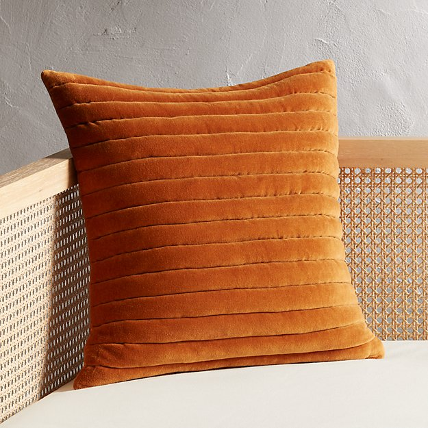"18"" Channeled Copper Velvet Pillow - Image 1 of 8"