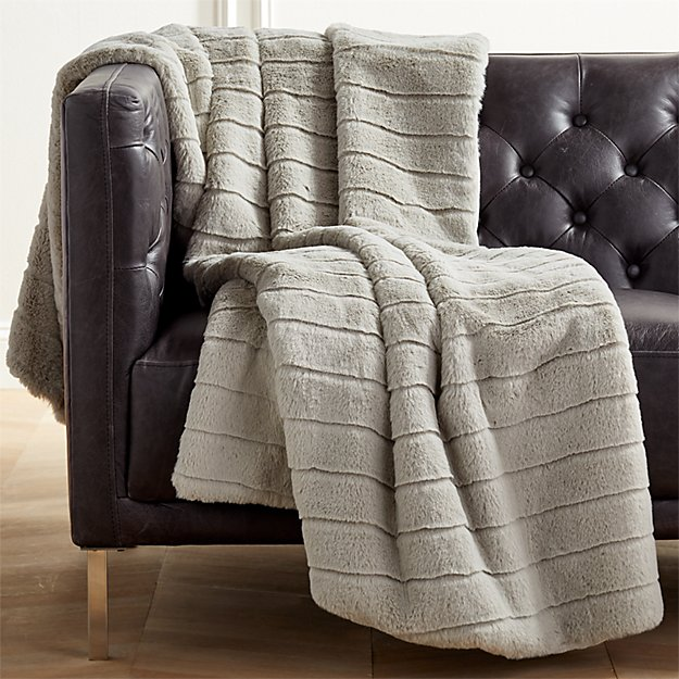 Grey Channeled Faux Fur Throw - Image 1 of 7