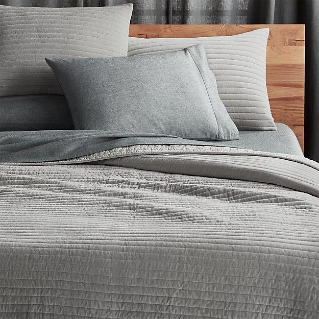 channeled grey velvet bedding cb2 - Velvet Bedding