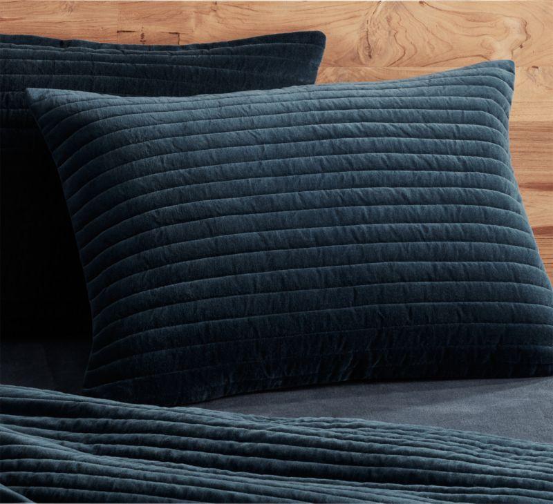 channeled navy velvet standard shams set of 2 - Velvet Bedding