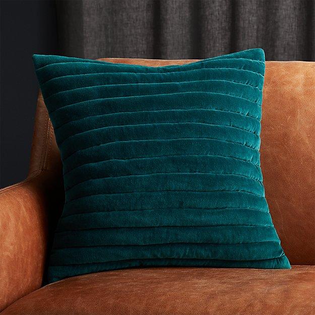 """18"""" Channeled Teal Velvet Pillow - Image 1 of 6"""