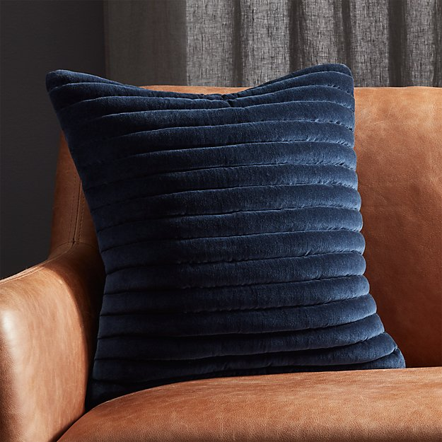 "18"" channeled navy blue velvet pillow with feather + reviews 