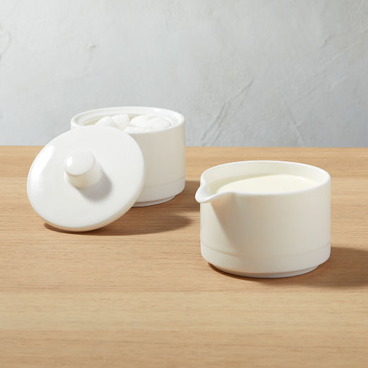 Chantilly White Creamer and Sugar Bowl with Lid Set