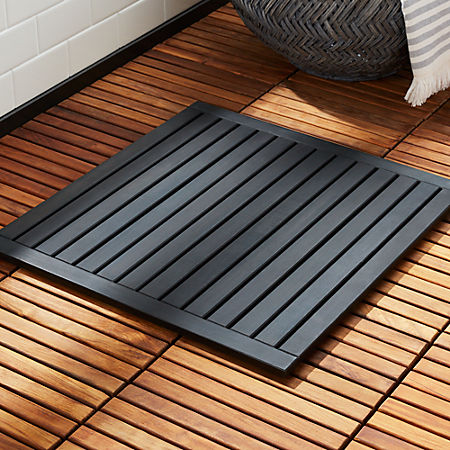 Lateral Teak Black Bath Mat 21 75 X23 Reviews Cb2