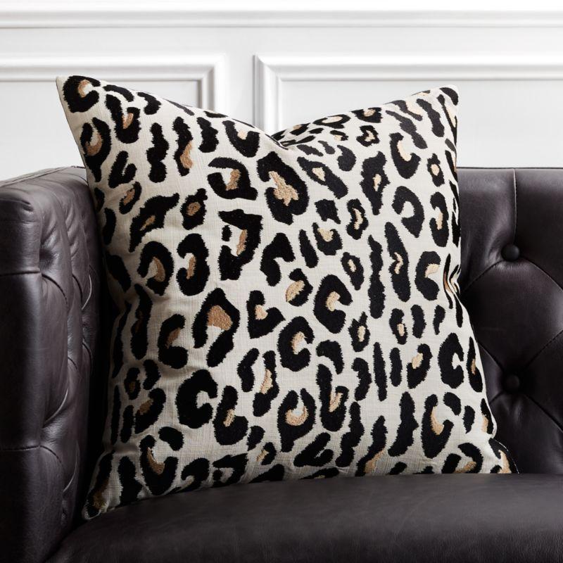 20 Embroidered Cheetah Print Pillow With Down Alternative Insert Reviews Cb2