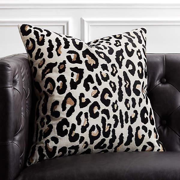 20 Embroidered Cheetah Print Pillow Cb2