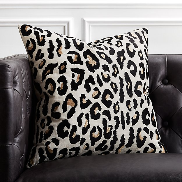 "20"" Embroidered Cheetah Print Pillow - Image 1 of 5"