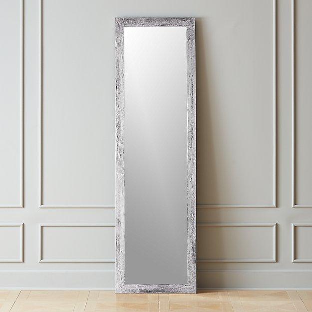 Chev Rough Cast Silver Floor Mirror - Image 1 of 3