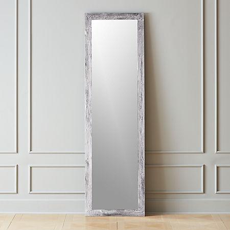 Chev Rough Cast Silver Floor Mirror Cb2