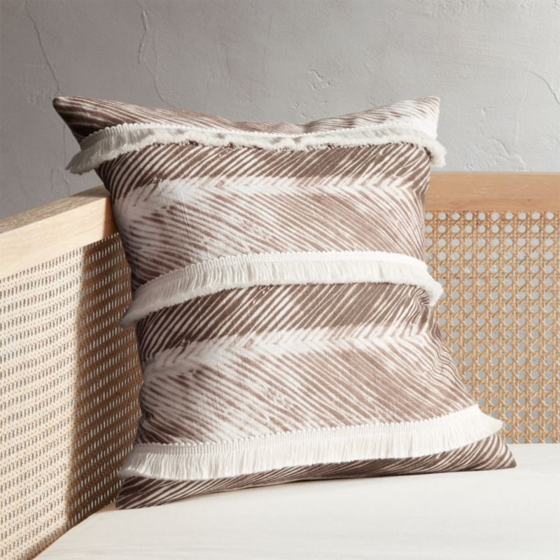 "18"" Fringe Natural Chevron Pillow by Crate&Barrel"
