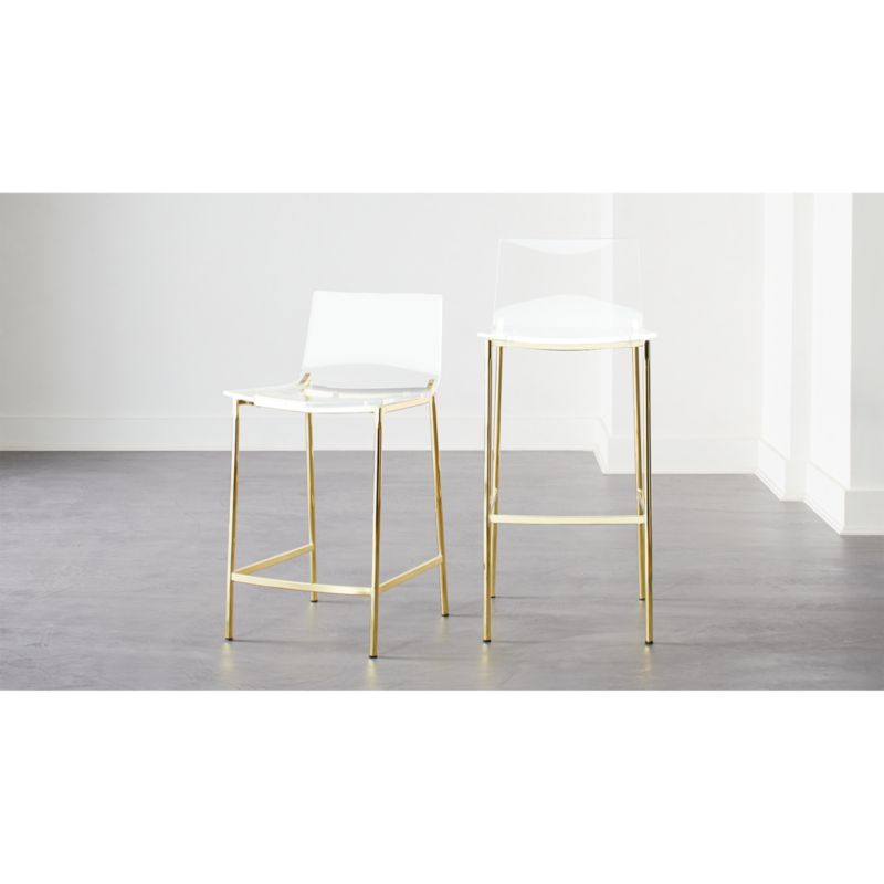Chiaro Clear Bar Stools Gold Cb2