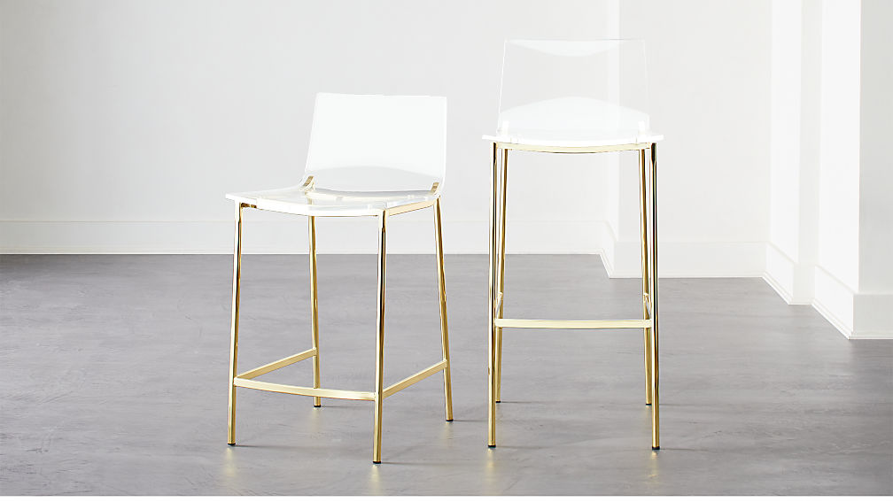 Chiaro Clear Bar Stools Gold - Image 1 of 12