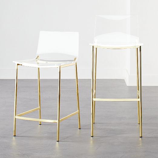 Chiaro Clear Bar Stools Gold