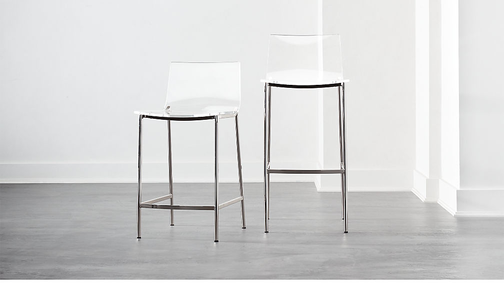 Chiaro Clear Bar Stools Nickel - Image 1 of 12
