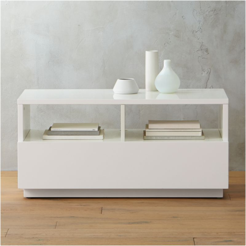 Chill White Mini Media Console Reviews Cb2