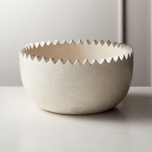 Chop Whitewash Wood Bowl