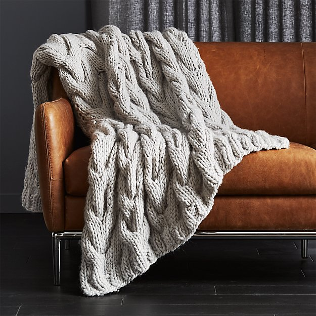 Chunky Light Grey Cable Knit Throw - Image 1 of 7