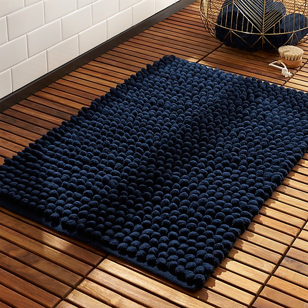 Cirrus Navy Bath Mat Reviews Cb2