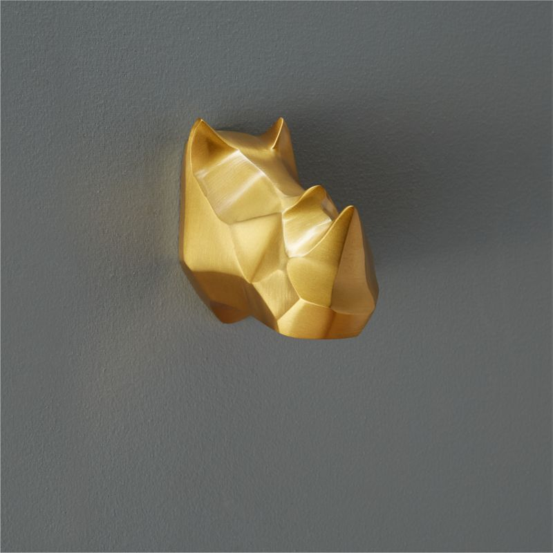 Clarence The Gold Rhino Wall Hook