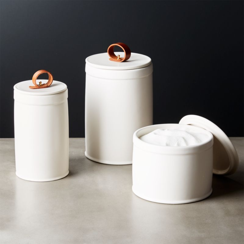 Clasp White Ceramic Canisters Set Of 3