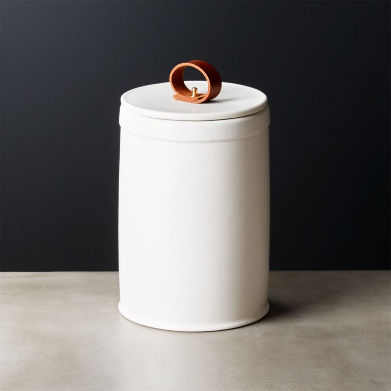 delightful Cool Kitchen Canisters Part - 7: Clasp Large White Ceramic Canister