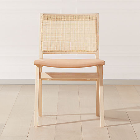 Claude Cane And Leather Dining Chair Reviews Cb2