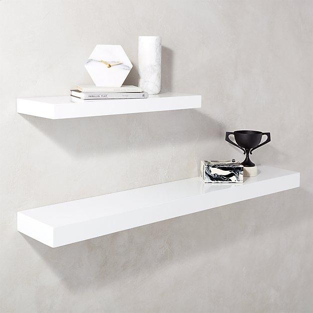 Calvin Hi Gloss White Floating Shelves Cb2