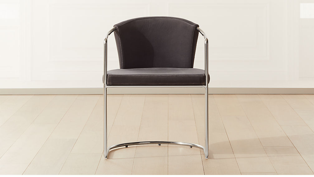 Cleo Grey Velvet Cantilever Chair - Image 1 of 6