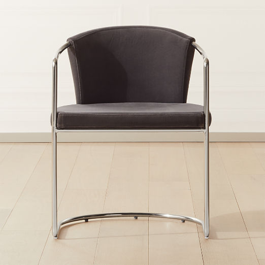 Cleo Grey Velvet Cantilever Chair